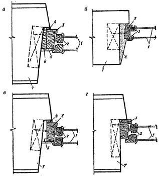 """рис. 1_1 (""""Конструкции сопряжений оконных блоков с наружными стенами"""", а - уплотнение зазора сухой антисептированной паклей (пенькой, очесами и др.); б - уплотнение зазора гипсоперлитовым раствором; в - сопряжение оконного блока со стеной без конопатки зазора; г - замоноличивание оконной коробки в стену)"""