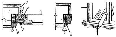 """рис. 3, """"Проникание холодного воздуха через зазор между стеной и оконной коробкой, установка нащельника, утепление зазора полиуретановой пеной"""", 1 - стена; 2 - утеплитель; 3 - наружная штукатурка; 4 - оконная коробка; 5 - петля; 6 - нащельник"""