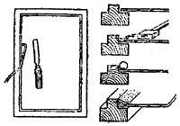 """рис. 4, """"Вставка стекол на одинарной замазке"""", а - закрепление стекла проволочными шпильками с помощью стамески; б - последовательность операции"""
