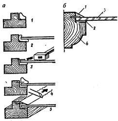 """рис. 5, """"Вставка стекол на двойной замазке"""", а - последовательность операции; 1 - укладка замазки; 2 - укладка стекла; 3 - забивка шпилек; 4 - нанесение замазки; 5 - профилирование замазки; б - правильно вставленное стекло; 1 - замазка; 2 - замазка постели; 3 - стекло; 4 - переплет"""