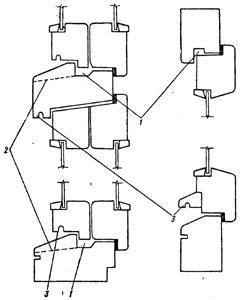 """Рис. 7. """"Способы предупреждения затекания воды"""", 1 - компенсационные каналы; 2 - прорези для отвода воды; 3 - капельники."""