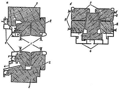 """рис. 2, """"Деревоалюминиевый оконный блок с полной наружной облицовкой линейными элементами из алюминия"""", а - вертикальный разрез; б - горизонтальный разрез; 1 - остекление; 2 - деревянный переплет; 3 - деревянная оконная коробка; 4 - алюминиевая облицовка"""