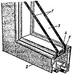 """рис. 3, """"Использование стеклопакета для остекления"""", 1 - остекление; 2 - переплет; 3 - герметичная воздушная прослойка; 4 - материал, впитывающий влагу из воздуха прослойки; 5 - распорный профиль"""