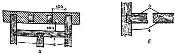 """рис. 6, """"Устройство ригеля около труб"""", а - общий вид стены и ригеля; б - способы крепления ригеля в балку; 1 - ригель; 2 - балки; 3 - ригели; 4 - балки"""