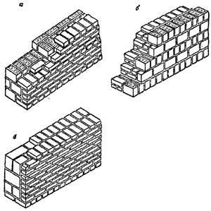 """рис. 6, """"Смешанная кладка"""", а - из керамического камня и кирпича; б - из кирпича и камня; в - из бетонных камней и кирпича"""